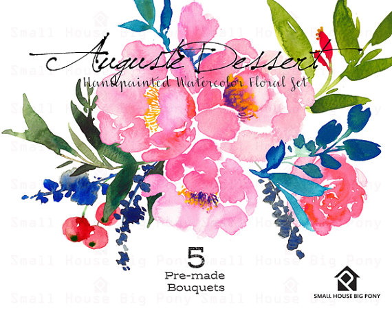 Digital Clipart Watercolor Flower Clipart by SmallHouseBigPony.