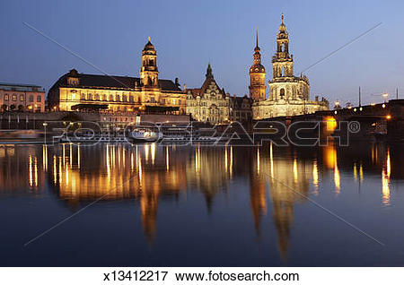 Picture of Germany, Saxony, Dresden, Elbe River, Hofkirche, Palace.