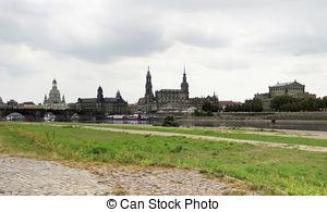 Stock Photography of Augustus Bridge in Dresden.