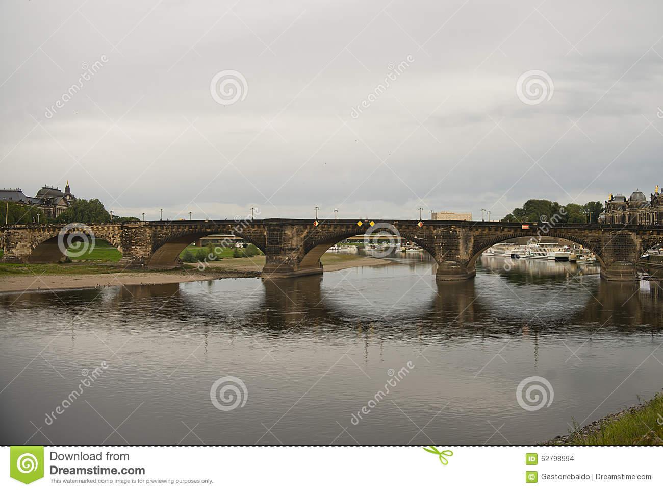 Augustus Bridge, Dresden, Germany Stock Photo.