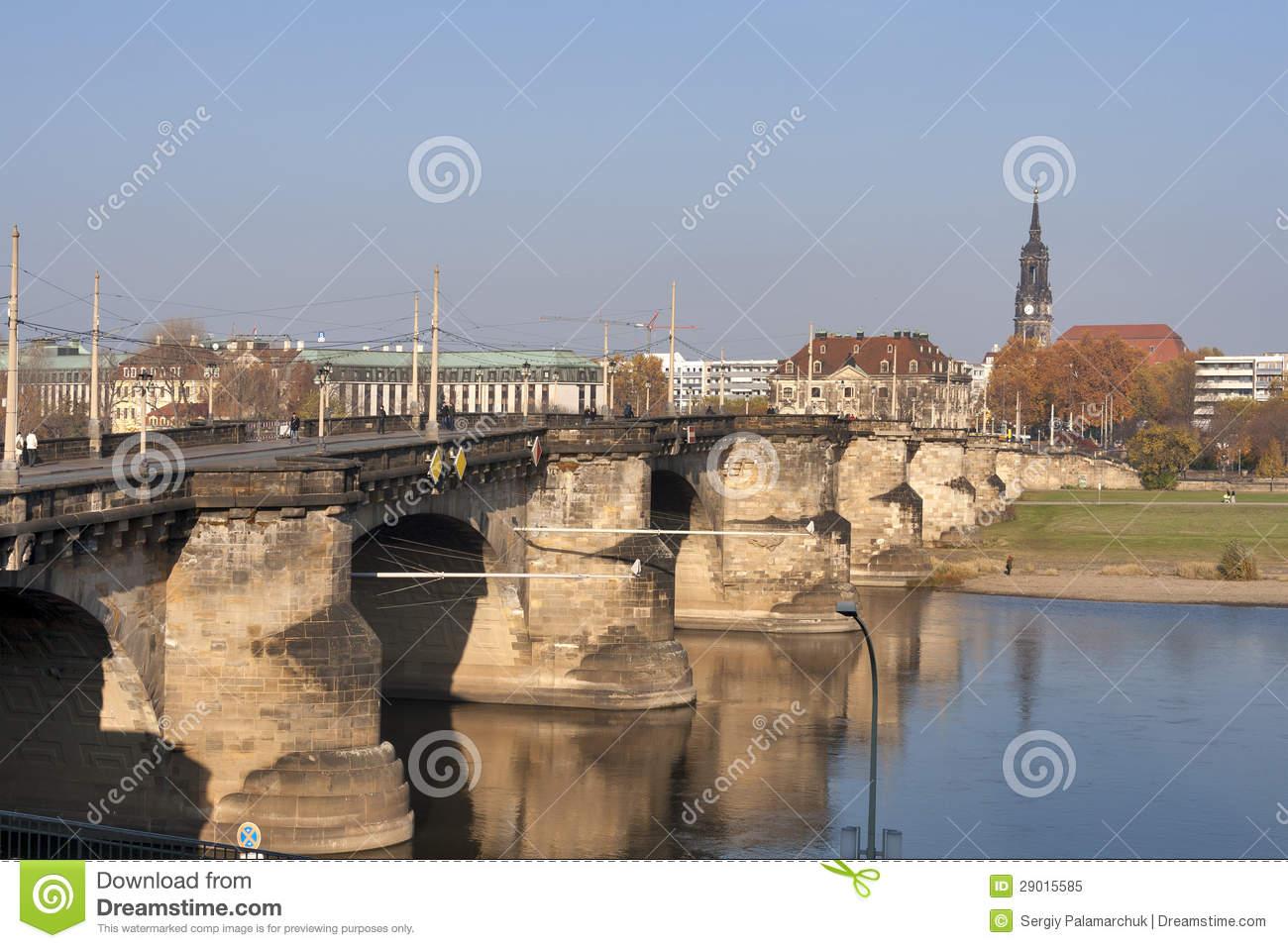 Augustus Bridge In Dresden Royalty Free Stock Photo.