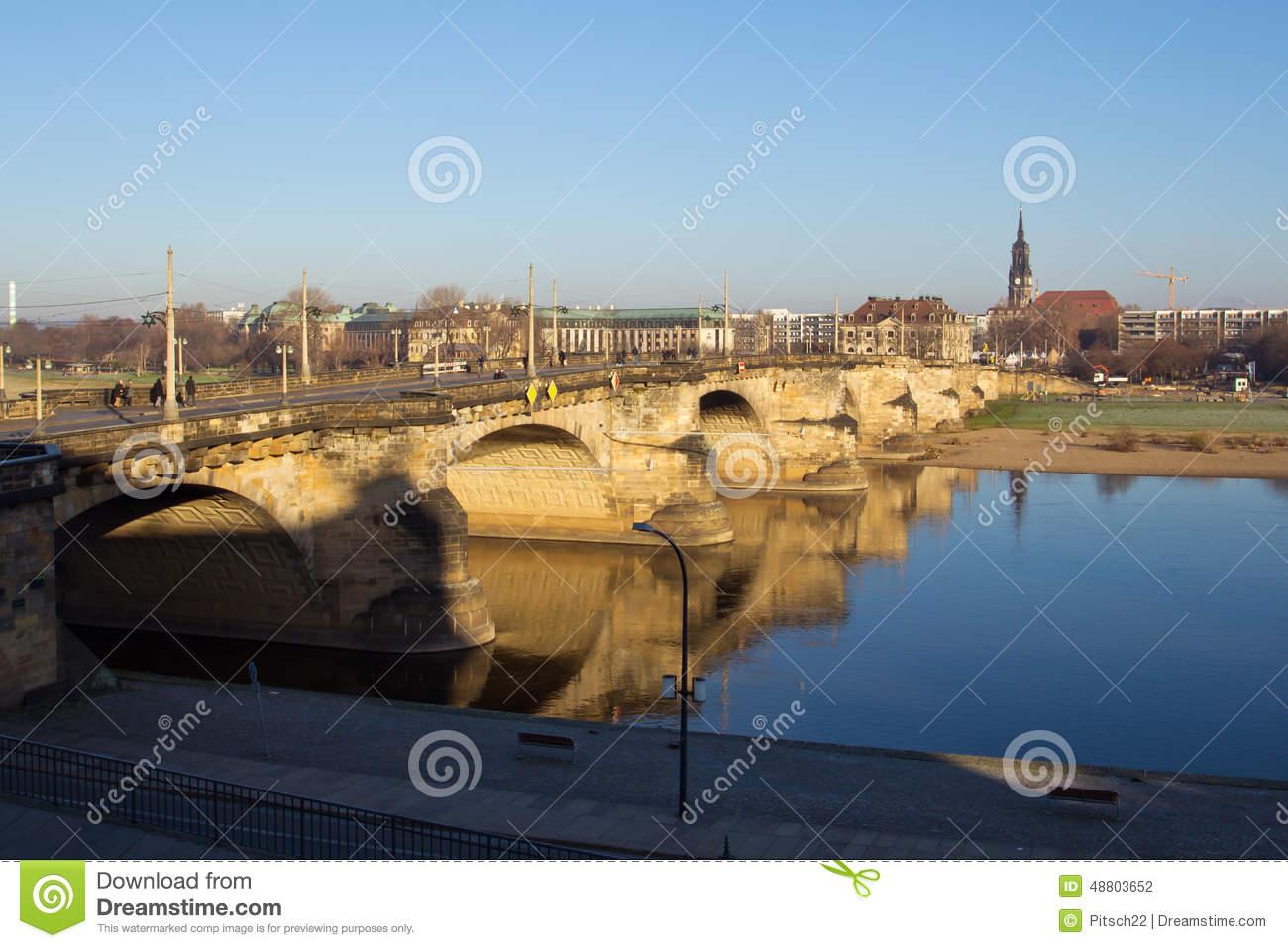 Dresden, Augustus Bridge Stock Photo.