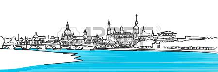 Dresden Panaroma Sketch, Colored River Elbe With Augustus Bridge.