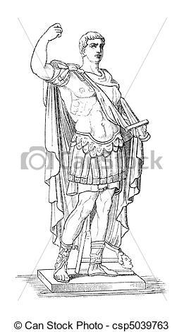 Drawings of Augustus aka Octavianus aka Gaius Julius Caesar.