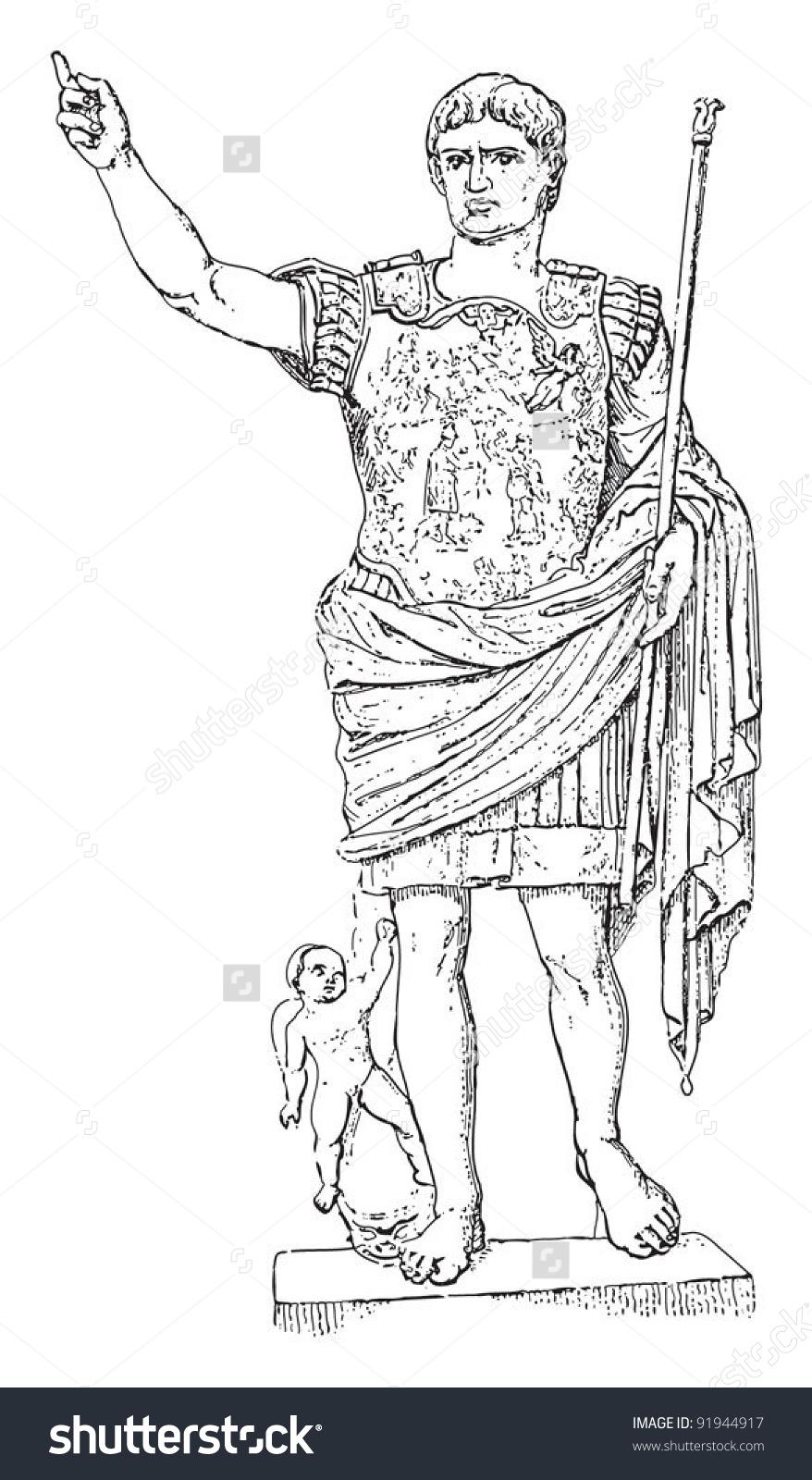 Augustus Greek Roman Sculpture Vintage Illustration Stock Vector.