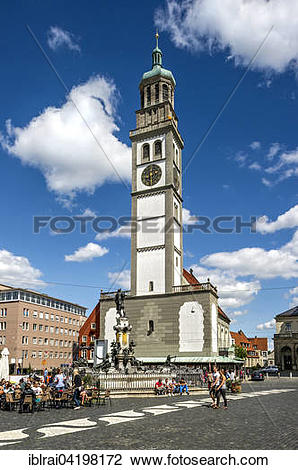 Stock Photo of Perlach tower, Church of St. Peter, Augustus.
