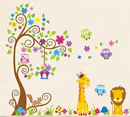 Wandtattoo Dschungel Wald Löwe Giraffe, Eichhörnchen Eule auf.