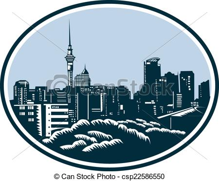 Clipart Vector of Auckland City Skyline Woodcut Retro.