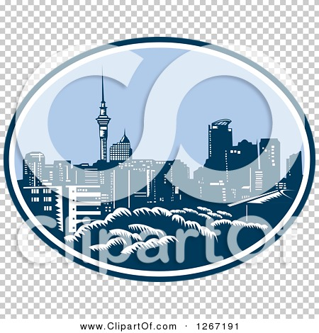 Clipart of a Retro Woodcut Scene of the Auckland City Skyline with.
