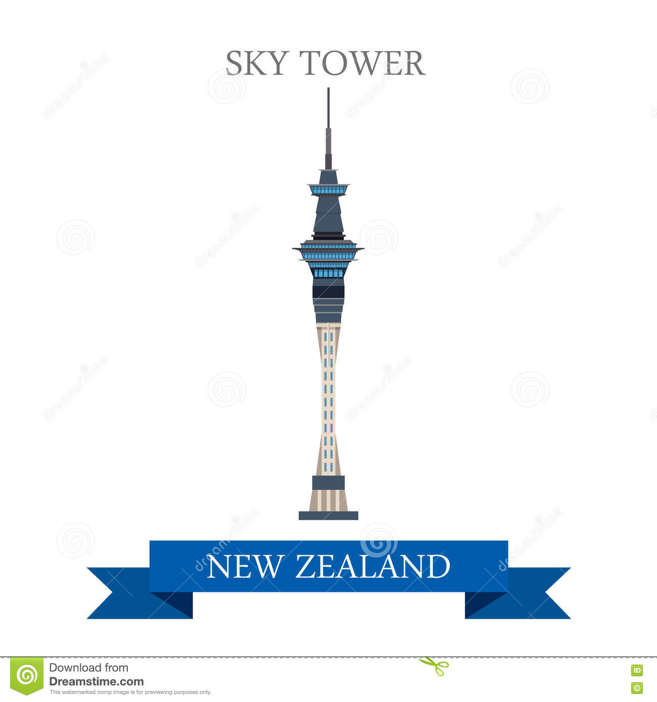 Auckland Sky Tower New Zealand Stock Illustrations.