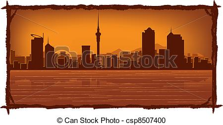 Vector Clipart of Auckland New Zealand skyline.