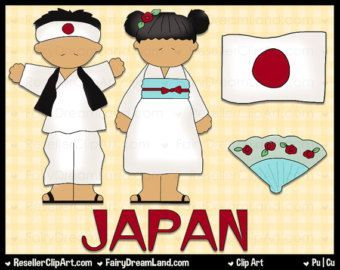Japanese Kids Digital Clip Art.