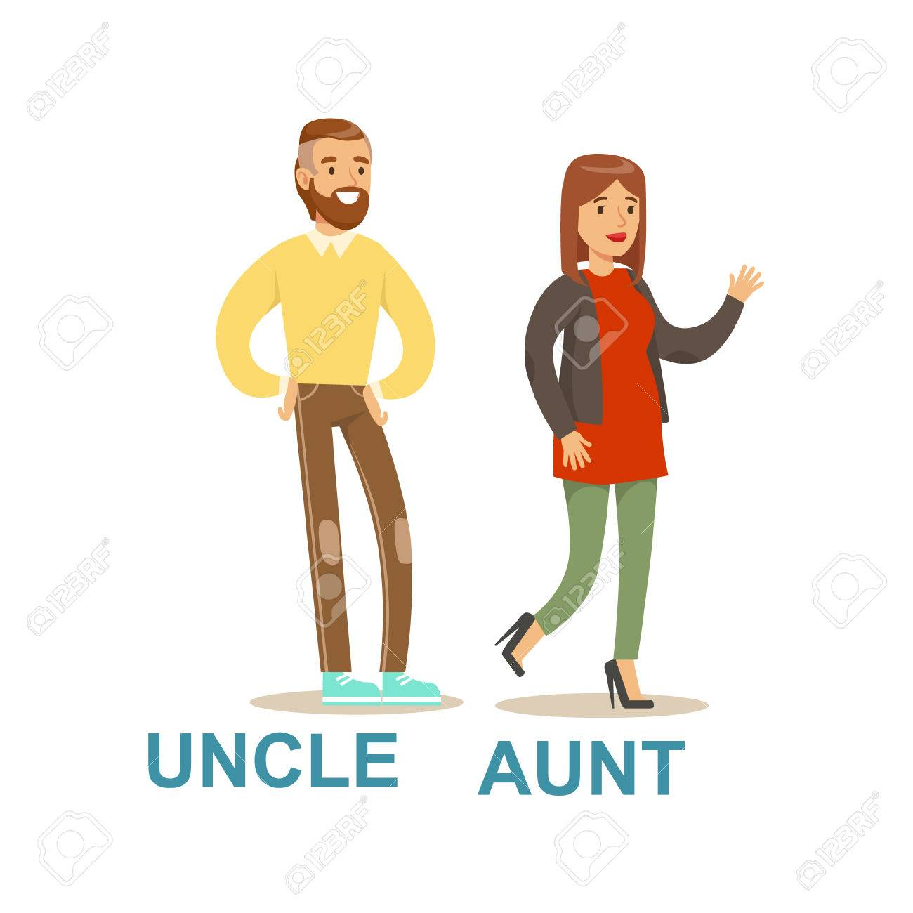 Uncle And Aunt, Happy Family Having Good Time Together Illustration.