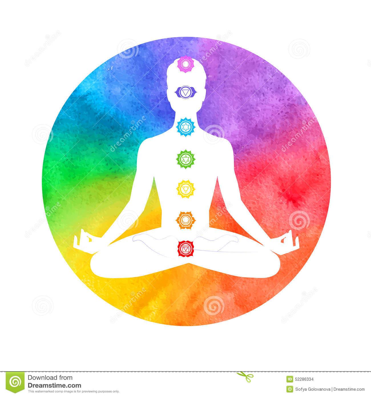 Meditation, Aura And Chakras Stock Vector.