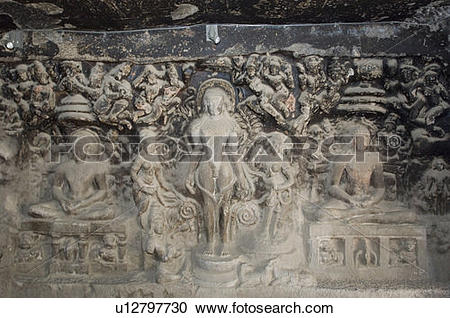 Stock Photography of Statues carved in a cave, Ellora, Aurangabad.