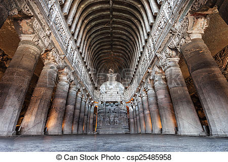 Stock Images of Ajanta caves, India.