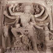 Picture of Statues carved on the wall in a cave, Ellora.