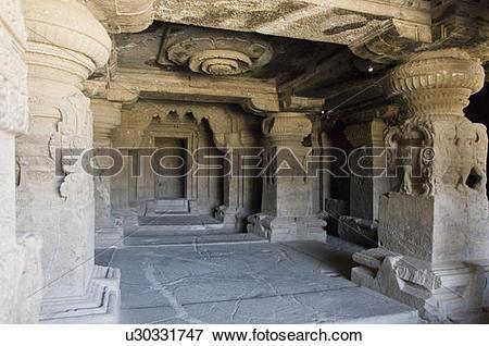Picture of Interiors of a cave, Ellora, Aurangabad, Maharashtra.