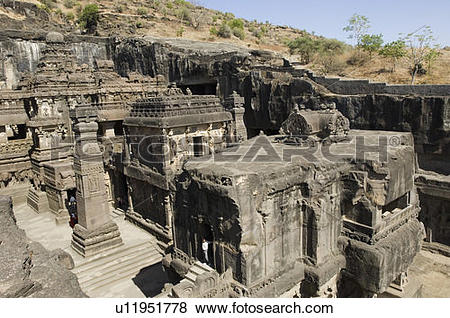 Pictures of Old ruins of a building, Kailash Temple, Ellora.