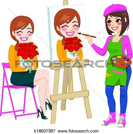 Clip Art of Artist Painting Portrait k18637387.