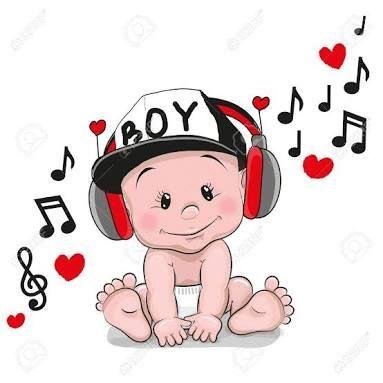 Resultado de imagen para dibujos de bebes con auriculares.