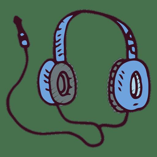 Auriculares de la música del doodle.