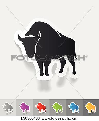 Clip Art of realistic design element. aurochs k30360436.