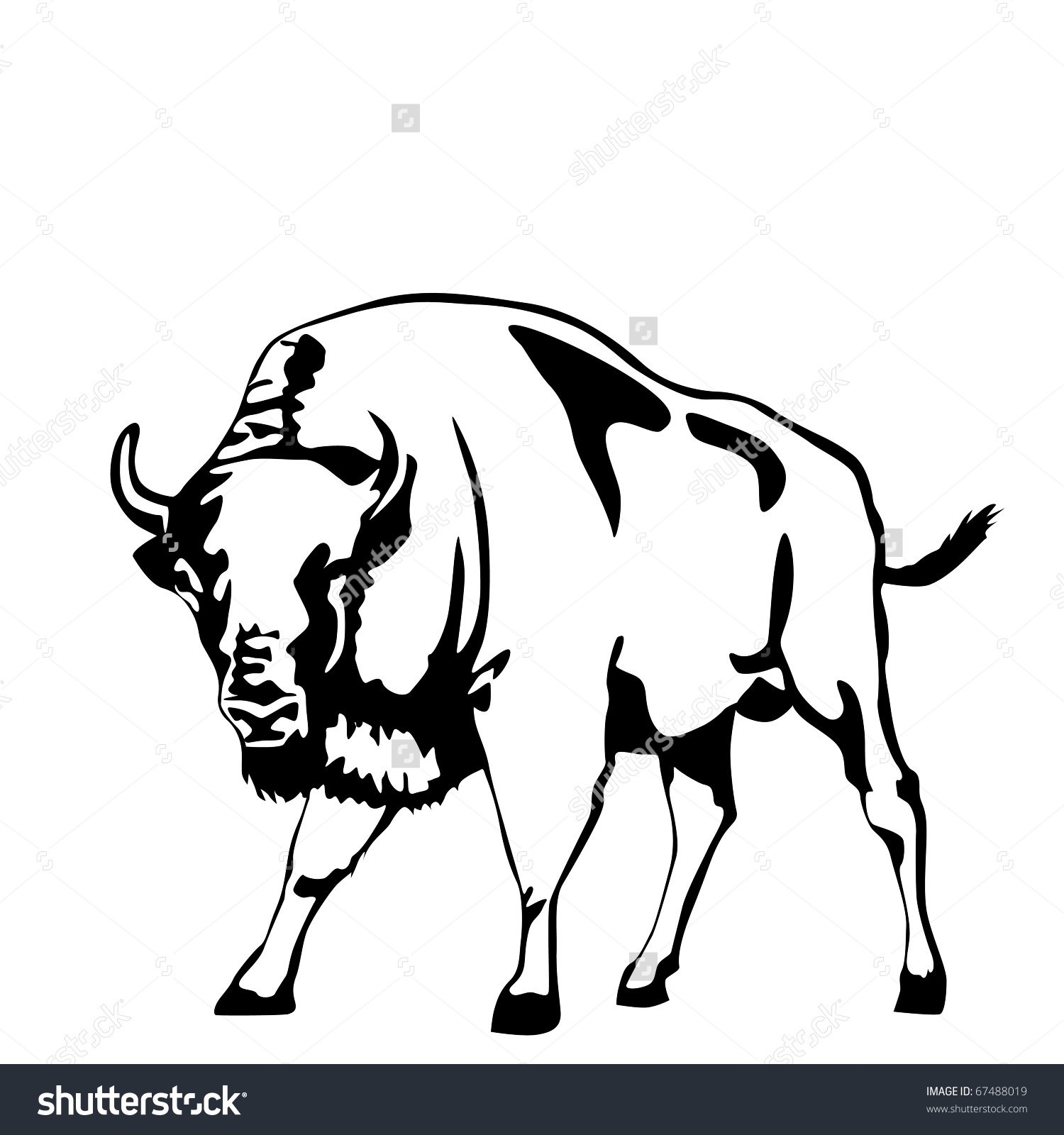Black And White Aurochs Vector Illustration.