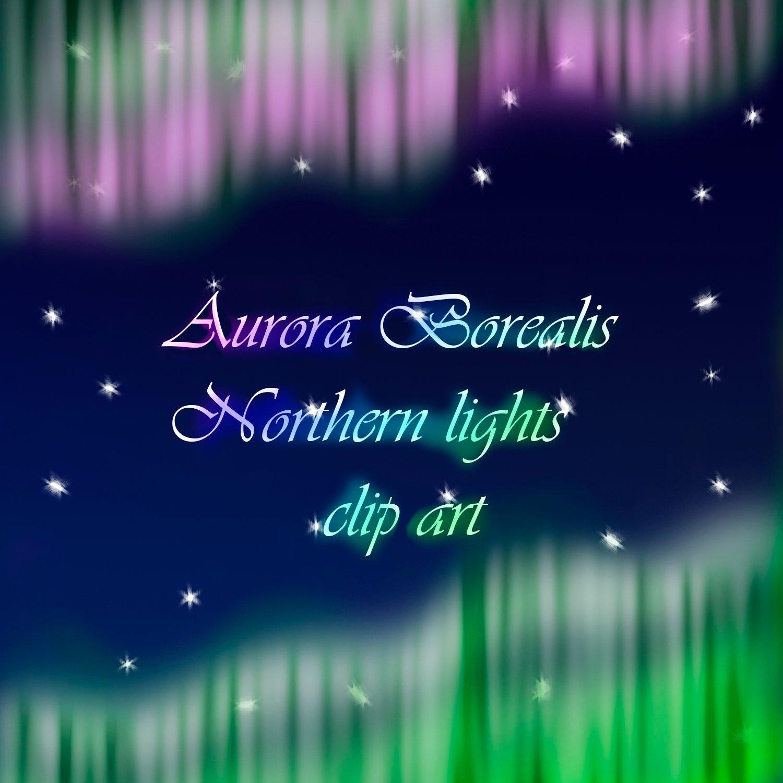 Aurora Borealis clipart, Northern lights clipart, polar lights Aurora  Polaris digital graphic, instant download, transparent backround.