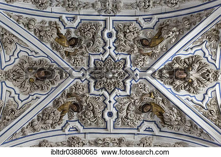 """Stock Image of """"Exuberant baroque stucco work at the ceiling of."""