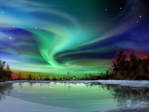 Aurora borealis clip art.