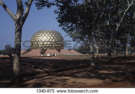 Stock Photo of Sphere shaped building in a field, Matrimandir.