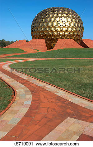 Stock Photography of way to golden ball of temple in Auroville.