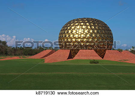 Stock Photography of Golden dome of temple in Auroville, India.