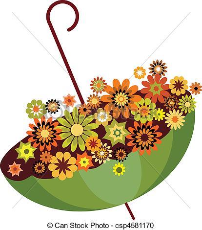 Clipart vettoriali di Pieno, ombrello, illustrazione, autunno.