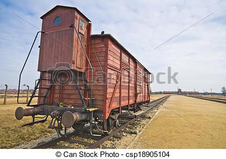 Stock Photography of Deportation wagon at Auschwitz Birkenau at.