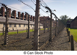 Picture of Main gate to concentration camp of Auschwitz Birkenau.
