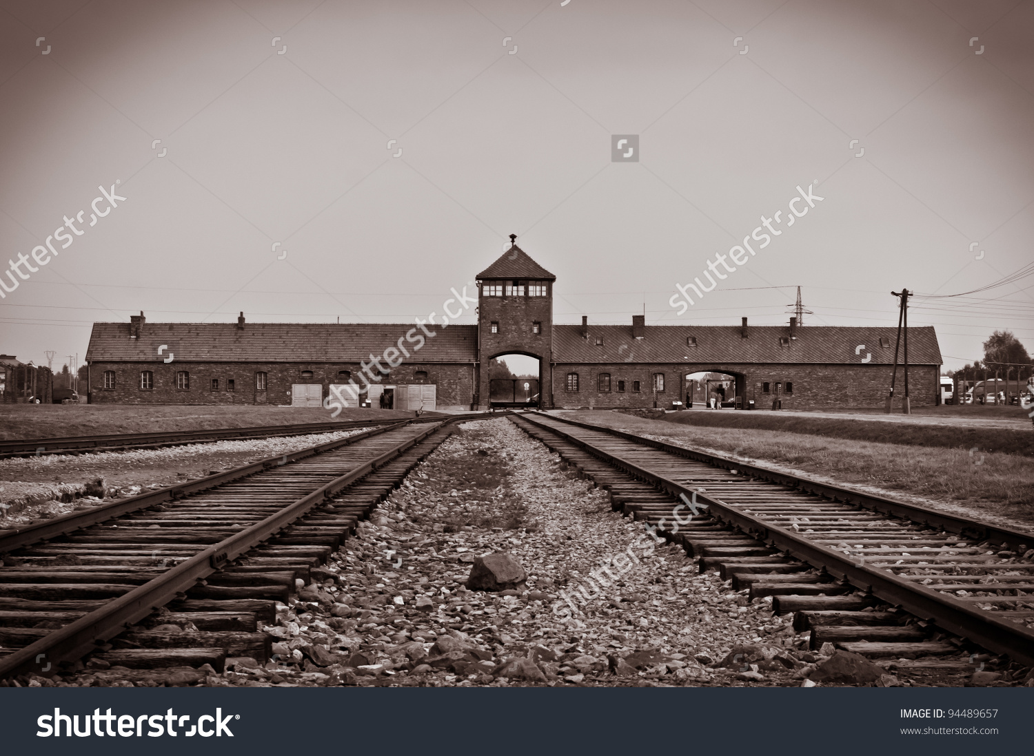 Main Entrance Auschwitz Birkenau Concentration Camp Stock Photo.