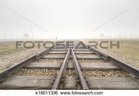 Stock Images of Main entrance to Auschwitz Birkenau k18011336.