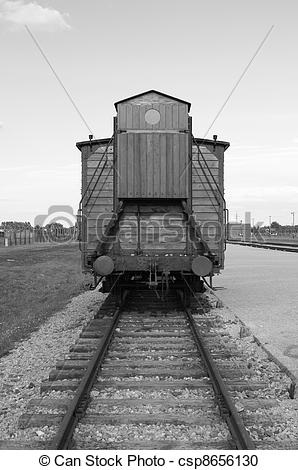 Stock Photography of Deportation wagon at Auschwitz Birkenau.
