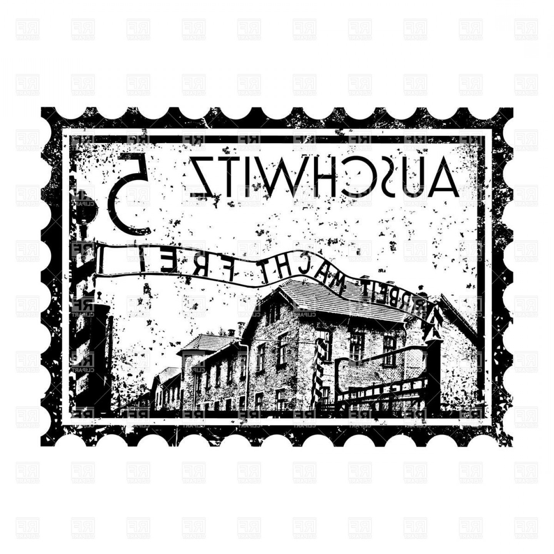 Best Auschwitz Postage Stamp Vector Clipart Graphic.