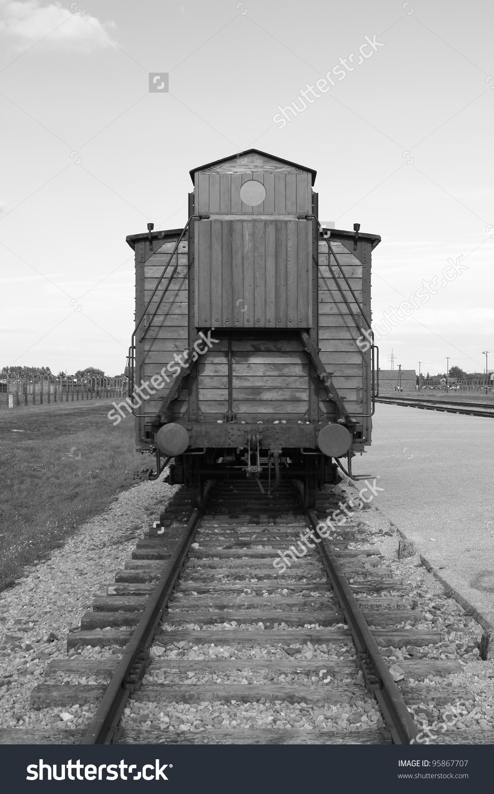 Deportation Wagon Auschwitz Birkenau Concentration Camp Stock.