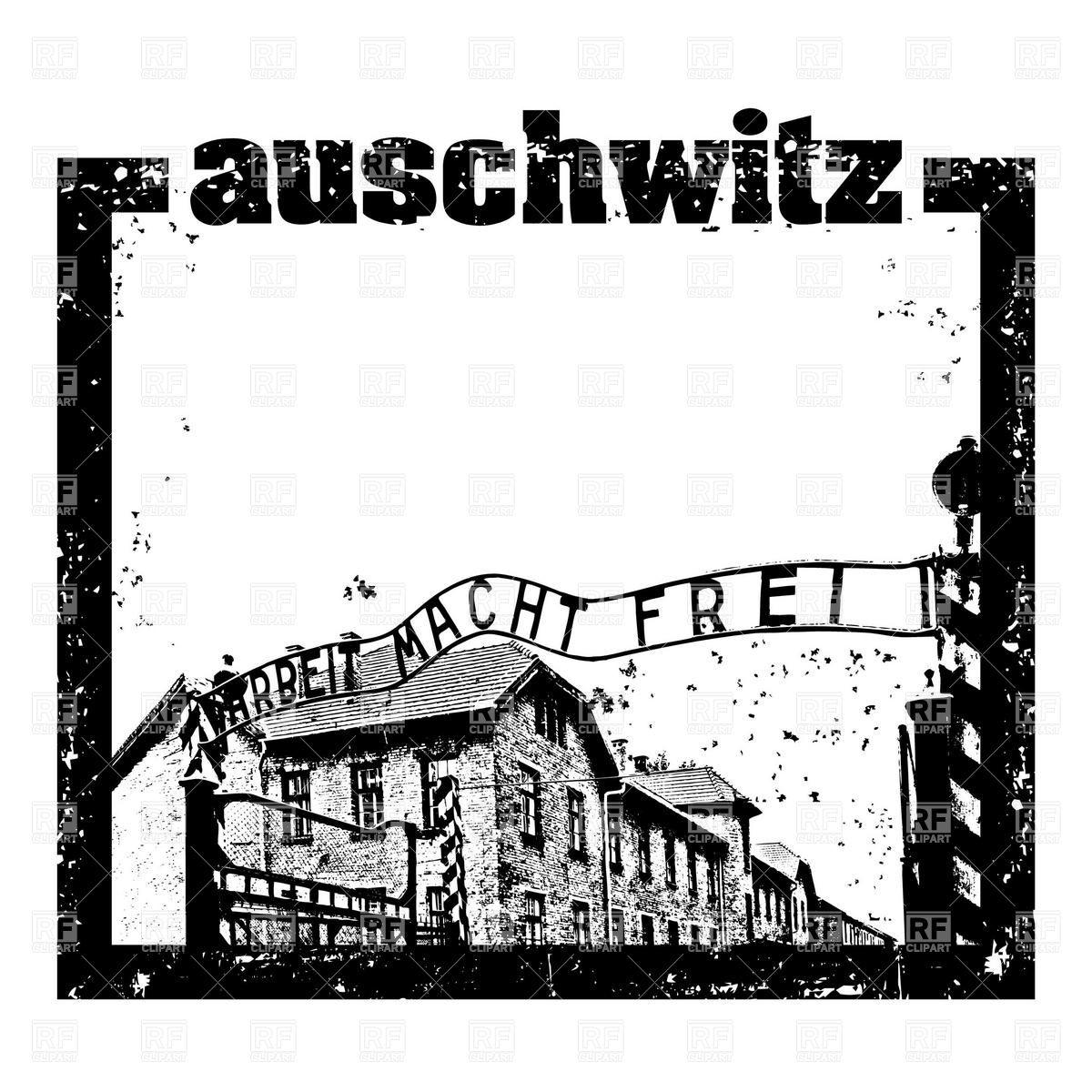 Auschwitz postage stamp with postmark Vector Image #16391.