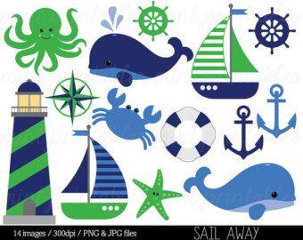 Nautical Clipart Clip Art, Anchor Clipart, Whale Clipart, Sailing.