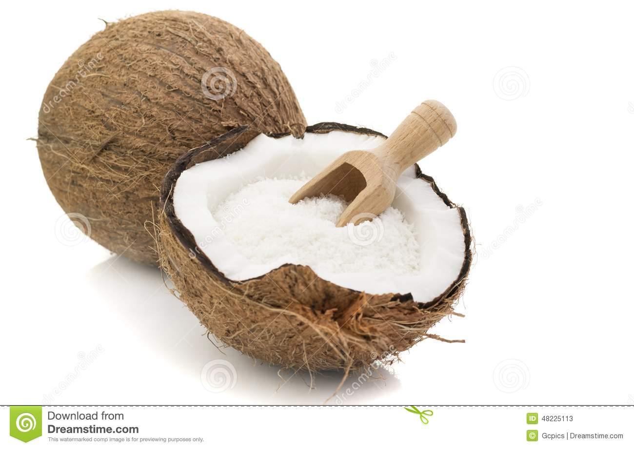 Ausgetrocknete Kokosnuss Und Hölzerne Schaufel Stockfoto.