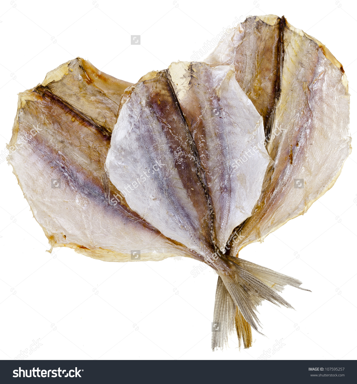 Dried Yellow Stripe Trevally Fish Isolated Stock Foto 107595257.