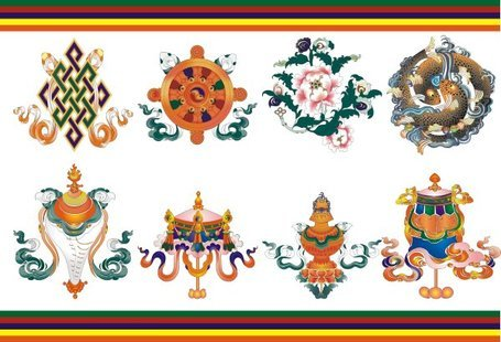 Eight auspicious in Tibet material Clipart Picture.