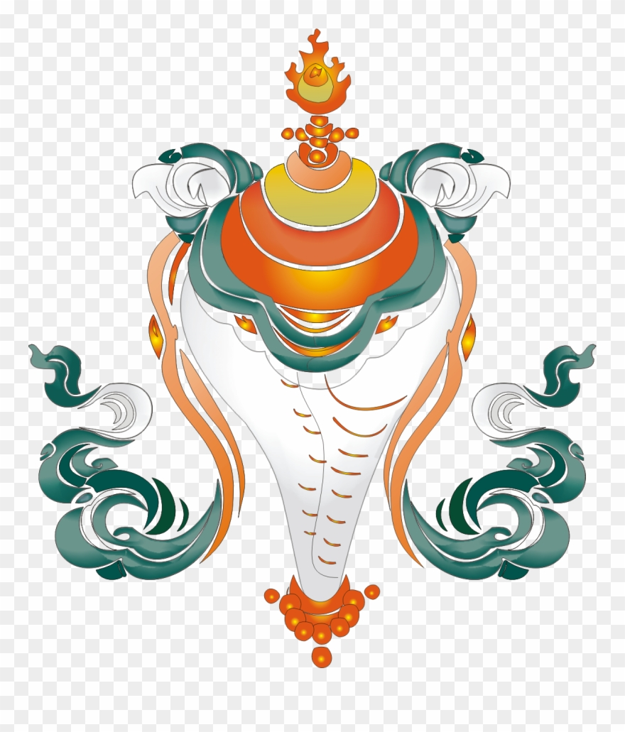 Free Vector Tibetan Auspicious Eight Baby Umbrella.