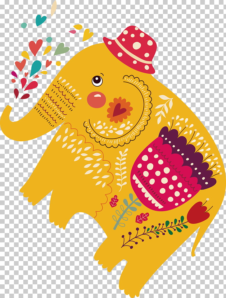 Elephant , Auspicious patterns; elephant decorations PNG.