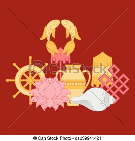 Vector Illustration of Buddhist symbolism, The 8 Auspicious.